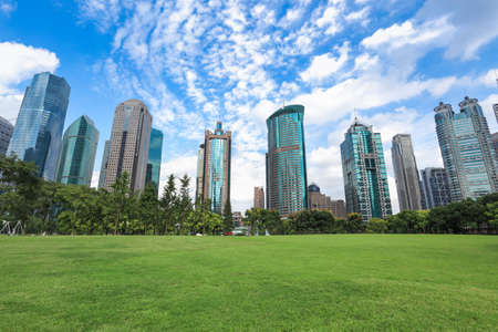 office environment: greenbelt park with lujiazui finance and trade zone in shanghai Stock Photo