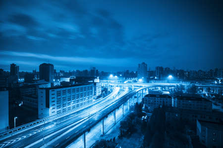 overlooking the viaduct in shanghai at dawn with blue tone Stock Photo - 15886278