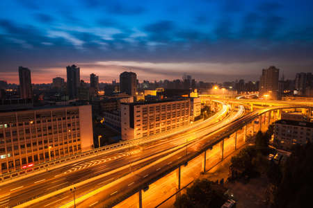 elevated road at dawn in shanghai,China photo