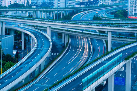 interchange: closeup of the overpass at shanghai in early morning