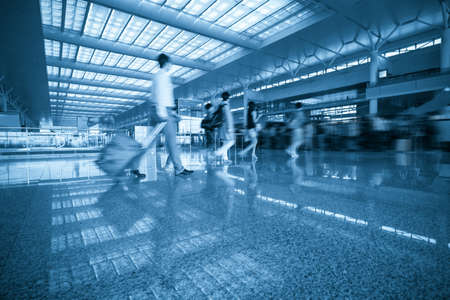 terminal: busy passenger queuing in modern waiting room