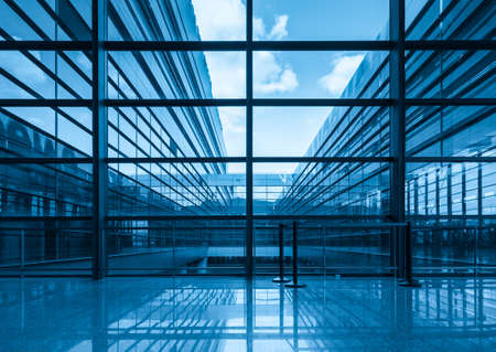 blue glass curtain wall and window in a modern building