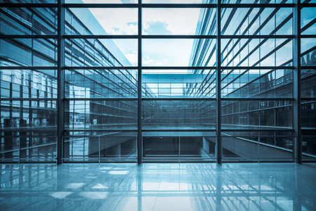building business: glass curtain wall and window in a modern  building