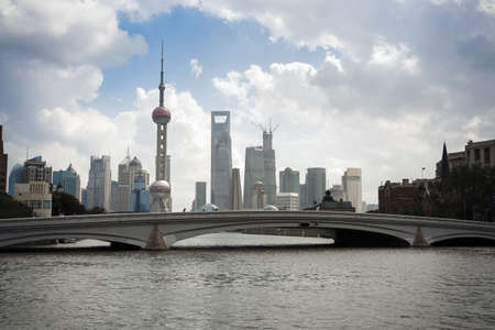 shanghai skyline on the suzhou river at daytime,China photo