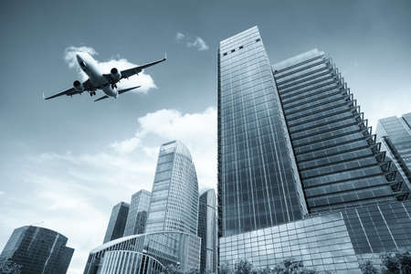 high rise: modern building with scheduled flight in shanghai Stock Photo