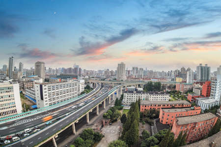 overpass: city highway overpass with sunset glow in shanghai,China