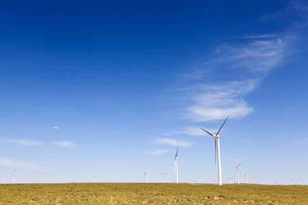 resource conservation: wind farm on the steppe in inner mongolia