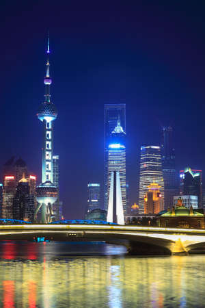 oriental pearl tower: beautiful shanghai at night view from suzhou river