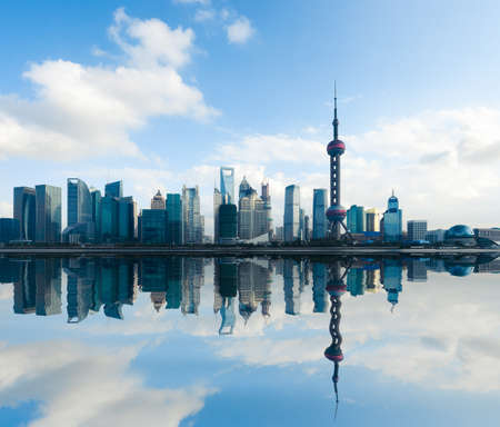 shanghai china: shanghai skyline at daytime with reflection,China Stock Photo