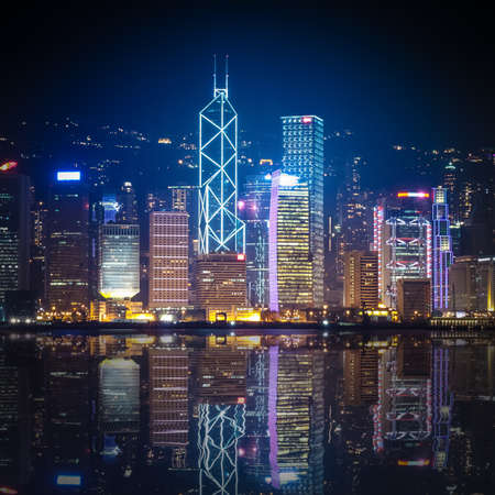 night view of Hong Kong with reflections