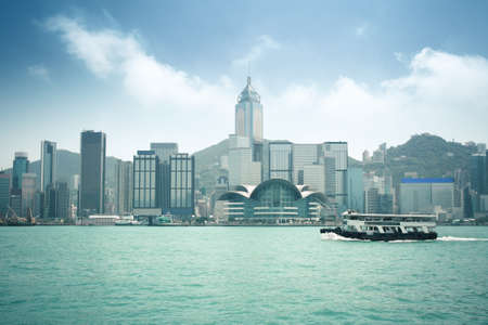 ferryboat: hongkong skyline with ferryboat in victoria harbour
