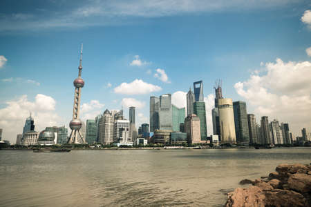 shanghai scenery with skyline in the bund riverside photo