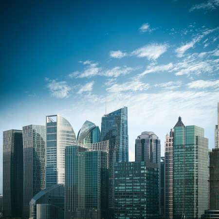 building backgrounds: modern financial buildings against a blue sky in shanghai Stock Photo
