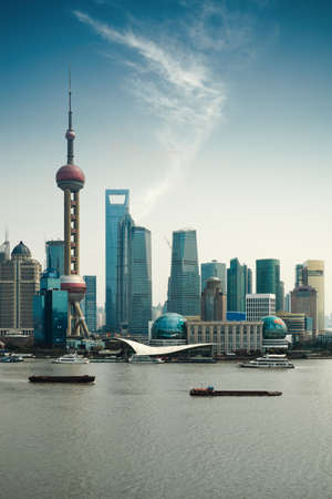 huangpu: shanghai pudong against a blue sky with huangpu river Stock Photo