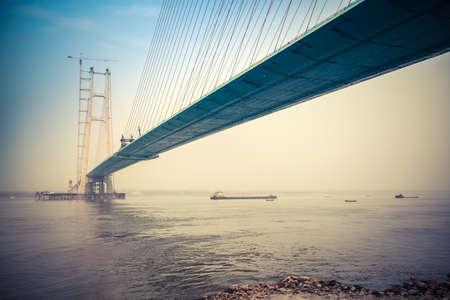 yangtze: cable-stayed bridge construction in yangtze river Stock Photo