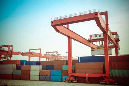 intermodal: container intermodal yard at dusk