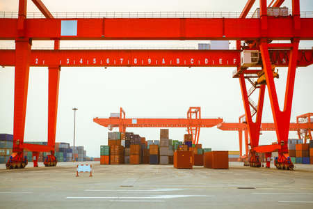 intermodal: containers and cranes in an intermodal yard
