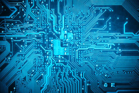 printed circuit board: blue circuit board background of computer motherboard Stock Photo
