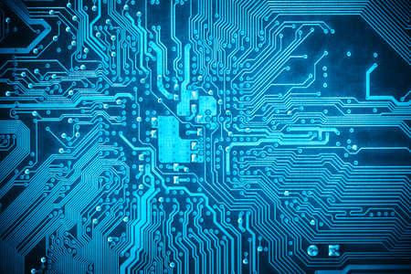 �board: circuito azul de fondo de placa base del ordenador Foto de archivo