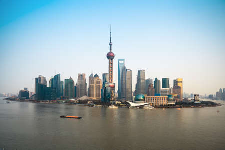 pudong: panoramic view of modern pudong skyline in shanghai Stock Photo