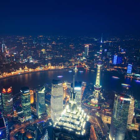 birds eye view of shanghai at night photo