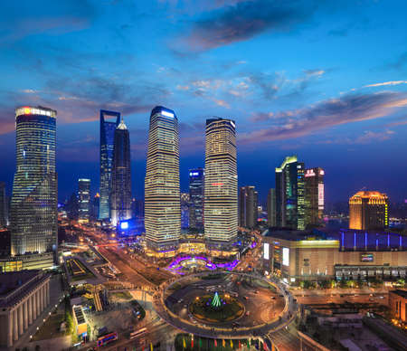 bird eye view: birds eye view of shanghai skyline at sunset,the most prosperous areas in China