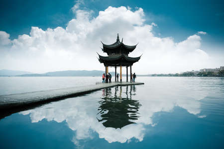 pavilion: chinese ancient pavilion on the west lake in hangzhou Editorial