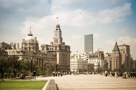 beautiful cityscape of the bund in shanghai with excellent historical buildings
