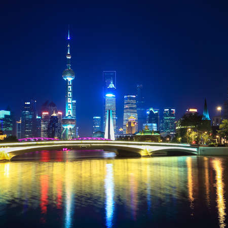 charming night in shanghai,scene from suzhou river  photo