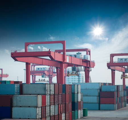 intermodal: container terminal under the blue sky