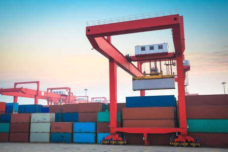 container terminal against the sunrise sky Stock Photo