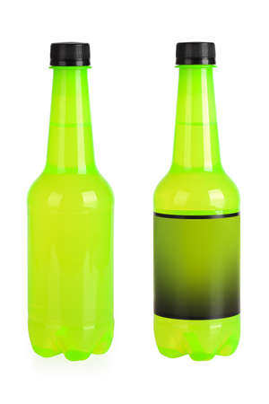 carbonated: green beverage bottle for carbonated drink on a white background
