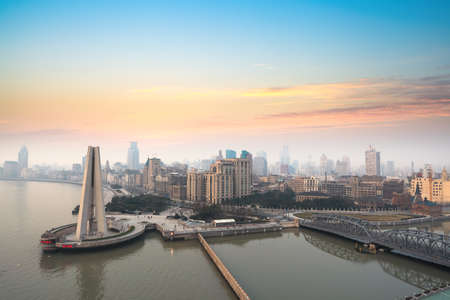 aerial view of the bund in shanghai at dawn photo