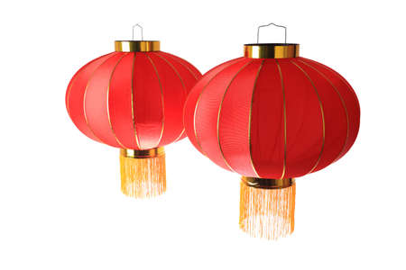 two red lantern isolated on white with clipping path photo
