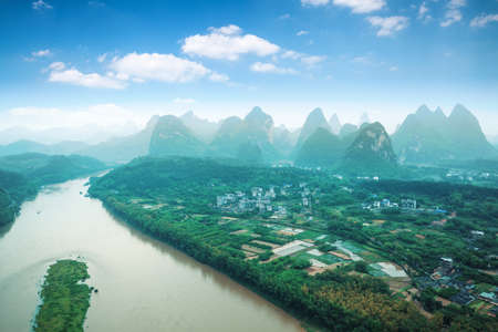aerial view of beautiful yangshuo landscape,China photo