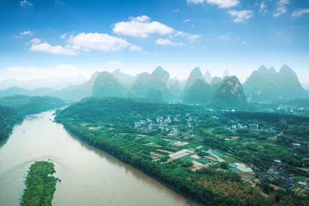 guilin: aerial view of beautiful yangshuo landscape,China