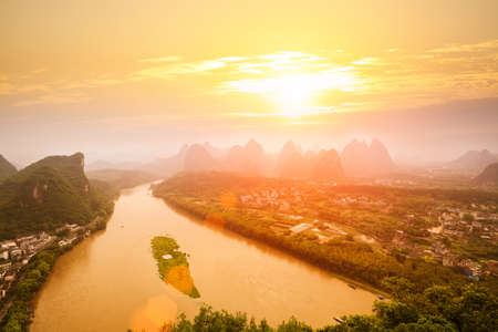 guilin: aerial view of yangshuo landscape at sunrise,China Stock Photo