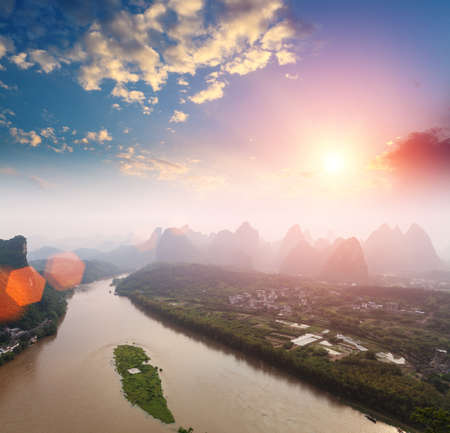 aerial view of karst landform at sunrise in yangshuo,China photo