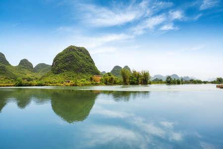 beautiful pastoral landscape in yulong river ,yangshuo,China photo