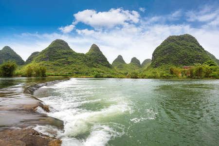 guilin: beautiful yulong river landscape,one pastoral scenery in yangshuo,China