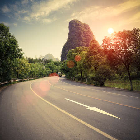 traffic signs: highway at sunset in guilin,China