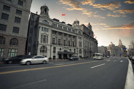 the street scene of the bund in shanghai at dusk,China