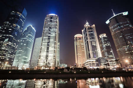 shanghai financial center skyline at night,China photo