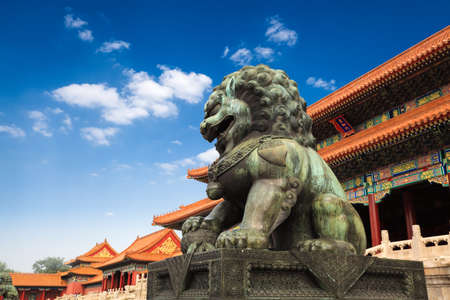 emperor of china: bronze lion in front of the hall of supreme harmony in beijing forbidden city, China Stock Photo