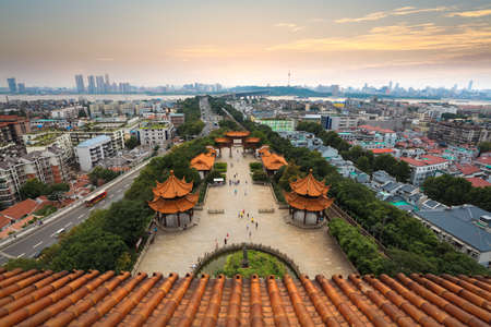 aerial view of wuhan city at dusk,view from yellow crane tower,China