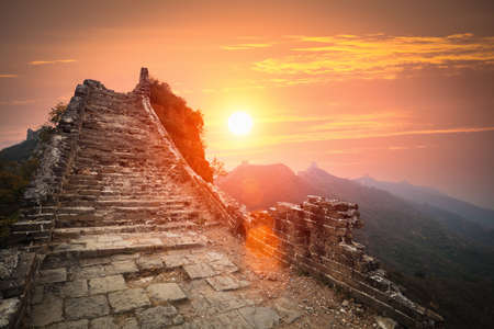 the great wall ruins in sunrise,China photo