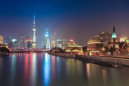 beautiful shanghai at night,suzhou river and lujiazui skyline photo