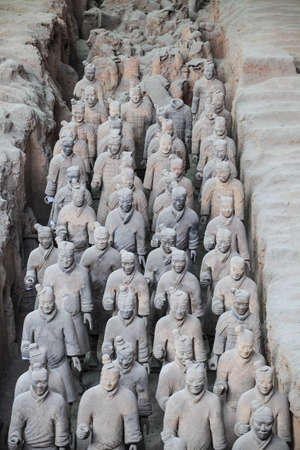 many terracotta warriors in the pit,xian,China