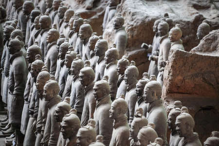closeup of the terra cotta warriors group,xian,China