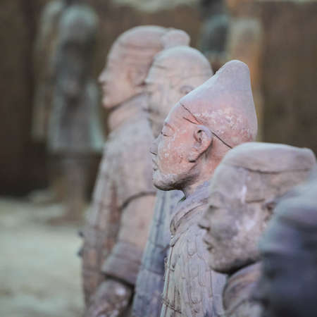 closeup of a look around terracotta warriors in xian,China